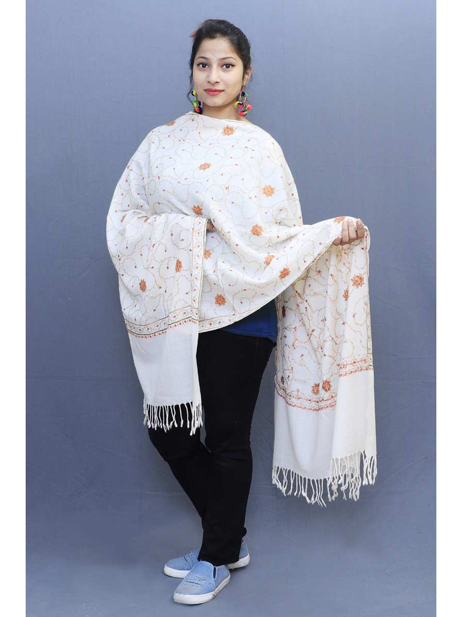 1319aa280b White Color Sozni Work Embroidered Stole