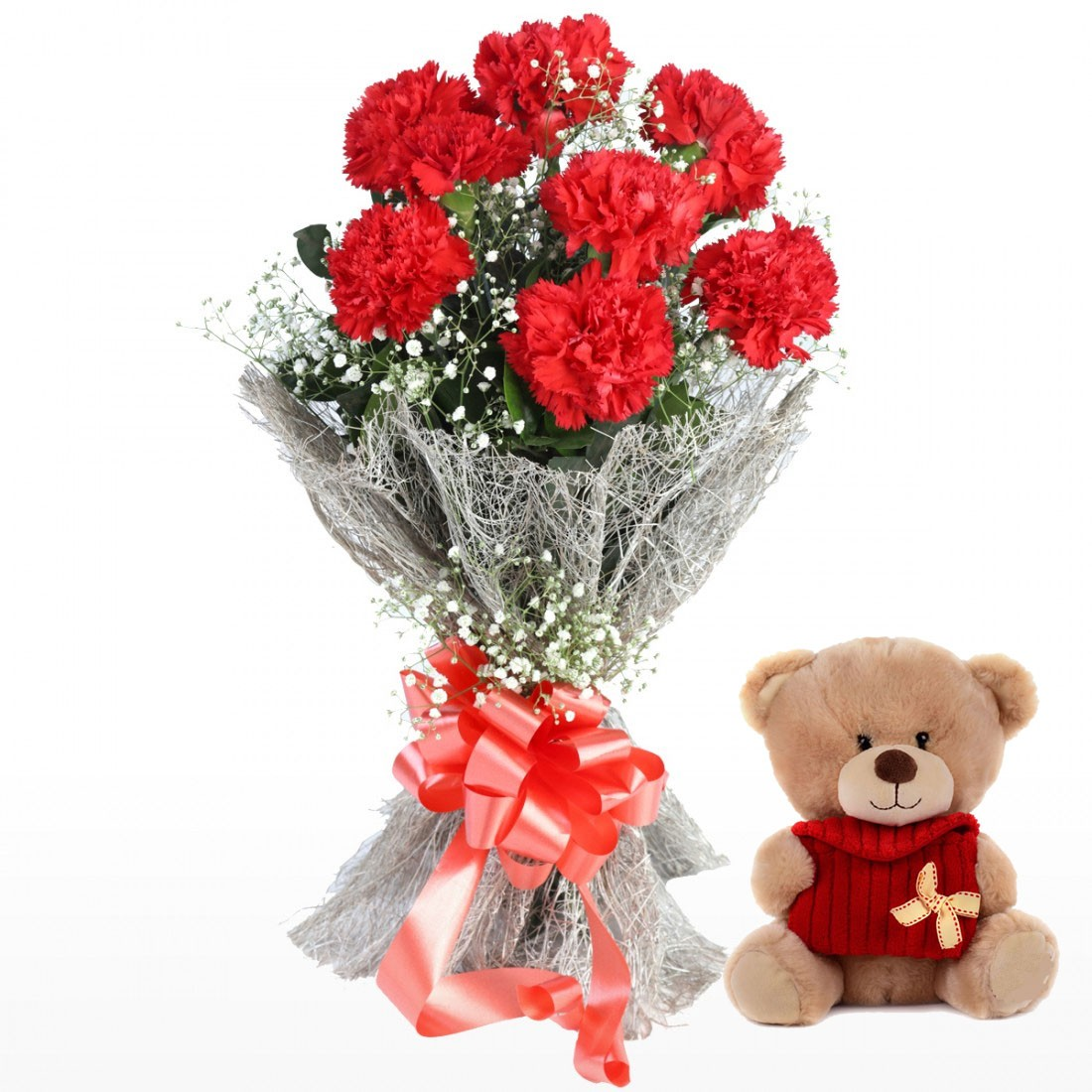 bouquet of 8 red carnations with teddy bear