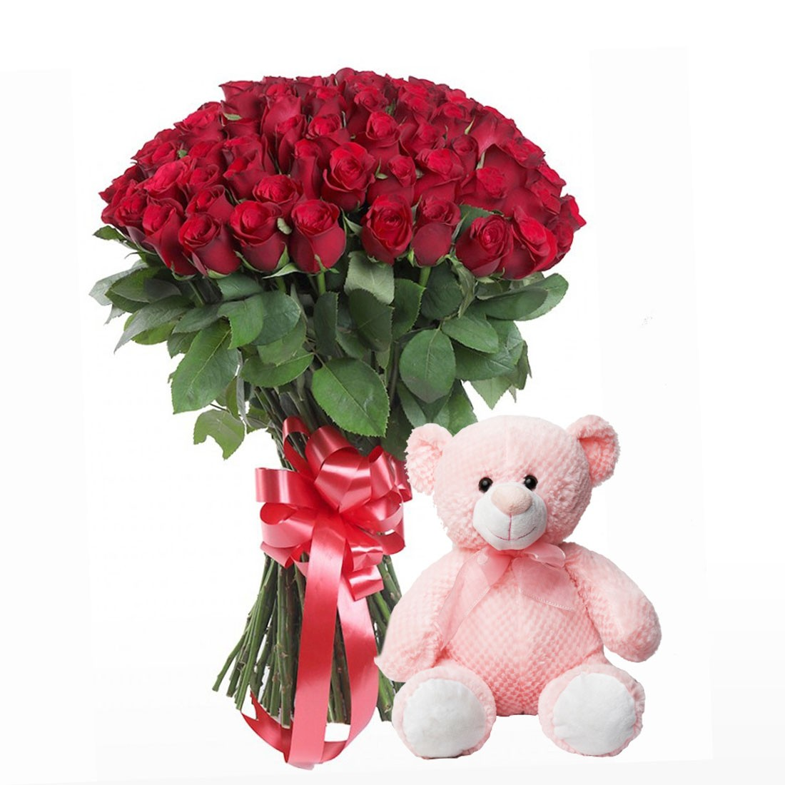 100 Red Roses Bunch With Teddy Bear