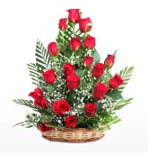 20 Red Roses In Basket
