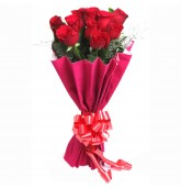 10 Red Roses Bouquet With Paper