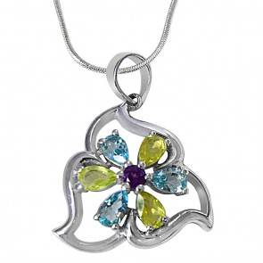 Green Peridot, Blue Topaz & Purple Amethyst In Silver Pendant With 18 Inch Silver Finished Chain