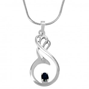 Solitaire Blue Oval Sapphire In Sterling Silver Pendant With 18 Inch Sterling Silver Chain