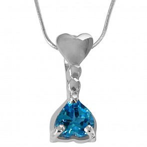 Blue Topaz In Sterling Silver Pedant With 18 Inch Silver Finished Chain