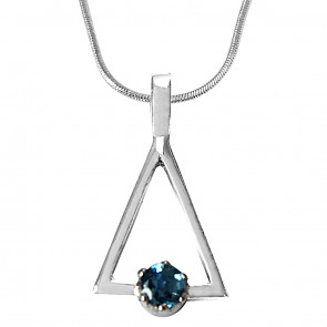 Blue Topaz In Sterling Silver Triangle Pendant Set For Girls With 18 Inch Silver Finished Chain