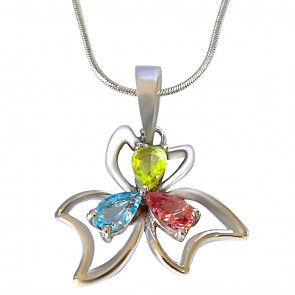 Blue Topaz, Green Peridot & Pink Tourmaline In Pendant For Girls With 18 Inch Silver Finished Chain