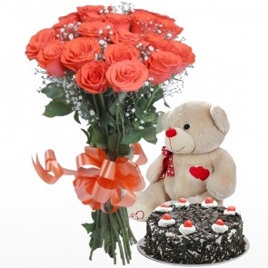 Hand Tied Bunch of 18 Orange Roses With Cake And Teddy