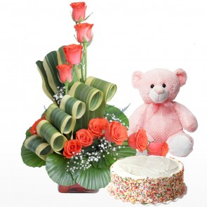 12 Orange Roses in Small Vase With Cake And Teddy