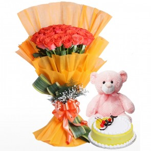 Bouquet of 3 Dozen Orange Roses With Cake And Teddy