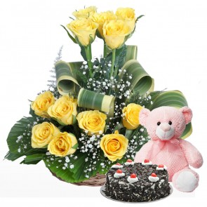 12 Yellow Roses in Small Basket with Cake & Teddy
