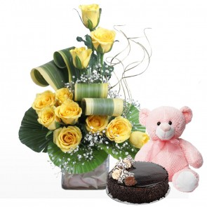 12 Yellow Roses in Small Vase with Cake & Teddy