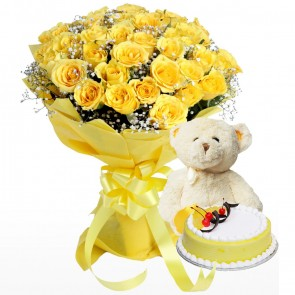 Bouquet of 40 Yellow Roses with Cake & Teddy