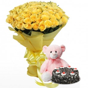 Bouquet of 75 Yellow Roses with Cake & Teddy
