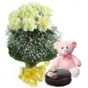 Bunch of 8 yellow carnations With Cake And Teddy Bear