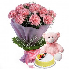 Bouquet of 12 pink carnations With Cake And Teddy Bear