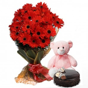 Bouquet of 25 Red Gerberas With Cake And Teddy Bear