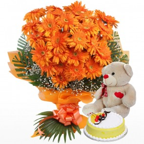 Bouquet of 25 Orange Gerberas With Cake And Teddy Bear