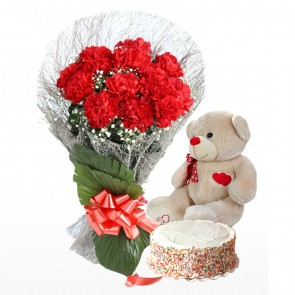 Bouquet of 15 red carnations With Cake And Teddy Bear
