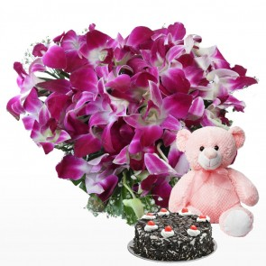 Heart Shape Arrangement - 20 Purple Orchids With Cake And Teddy Bear