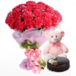 Bouquet of 30 pink carnations With Cake And Teddy Bear