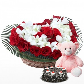 be21ede61de57 Heart Shape Arrangement - 25 Red Roses and 10 Orchids With Cake And Teddy  Bear