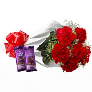 Bouquet of 6 Red Carnations With Chocolates