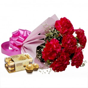 Bouquet of 6 Pink Carnations With Chocolates