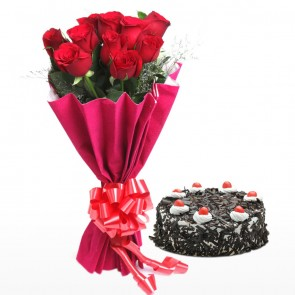 Bouquet Of 10 Red Roses With Cake