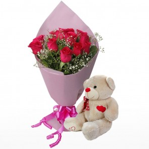 Bouquet Of 10 Pink Roses With Teddy Bear
