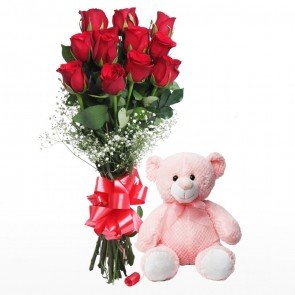 Hand Tied Bunch Of 12 Red Roses With Teddy Bear