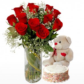 12 Red Roses In Medium Vase With Cake And Teddy Bear