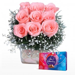 9 Pink Roses in Small Vase With Chocolates
