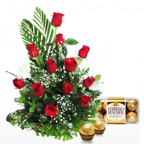 12 Roses Arranged In A Basket With Chocolates