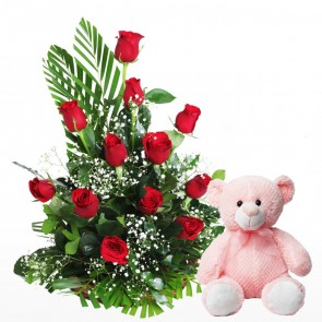 12 Roses Arranged In A Basket With Teddy Bear