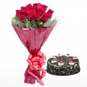 Bouquet Of 15 Red Roses With Cake