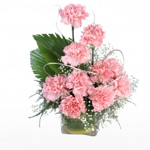10 Pink Carnations in Small Vase