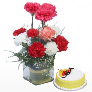 10 Mix Color Carnations in Small Vase with Cake