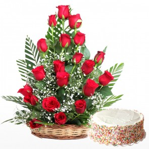 20 Red Roses In Basket With Cake