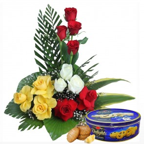 10 Mix Color Roses in Basket With Chocolates