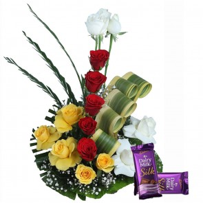 15 Mix Color Roses in Basket With Chocolates