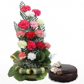 15 Mix Color Carnations in Basket with Cake