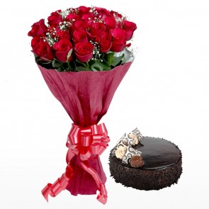 Bouquet Of 24 Red Roses With Cake
