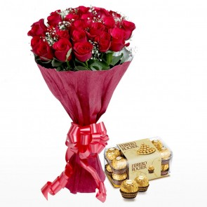 Bouquet Of 24 Red Roses And Chocolates