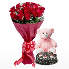 Bouquet Of 24 Red Roses With Cake And Teddy Bear