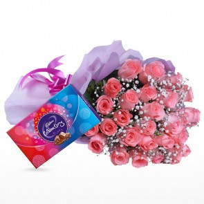 Bouquet of 24 Pink Roses With Chocolates
