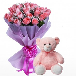 Bouquet Of 24 Pink Roses With Teddy Bear