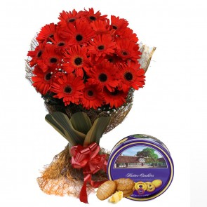 Bouquet of 20 Red Gerberas With Chocolates