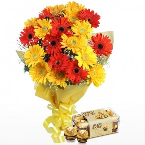 Bouquet of 20 Mix Gerberas With Chocolates