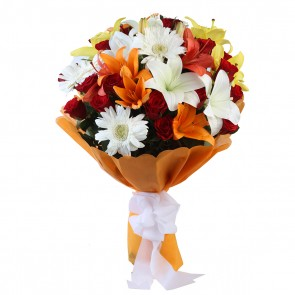 Bouquet of 24 Mix Flowers - 3 Gerberas, 16 Roses , 5 Lilies