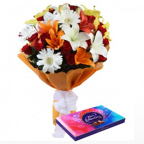 Bouquet of 24 Mix Flowers With Chocolates